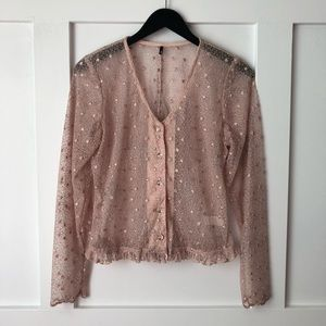 VTG Blush Pink Sparkly Crystal Button Down Jacket